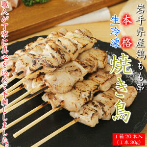 【ふるさと納税】炭火・ホットプレート・グリルでも!ご家庭で簡単調理!「 岩手県産鶏もも串(生冷凍)30g×20本セット」