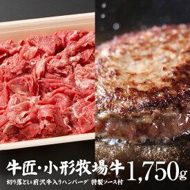 【ふるさと納税】小形牧場牛 切り落とし1000gとハンバーグ5個 計1750g