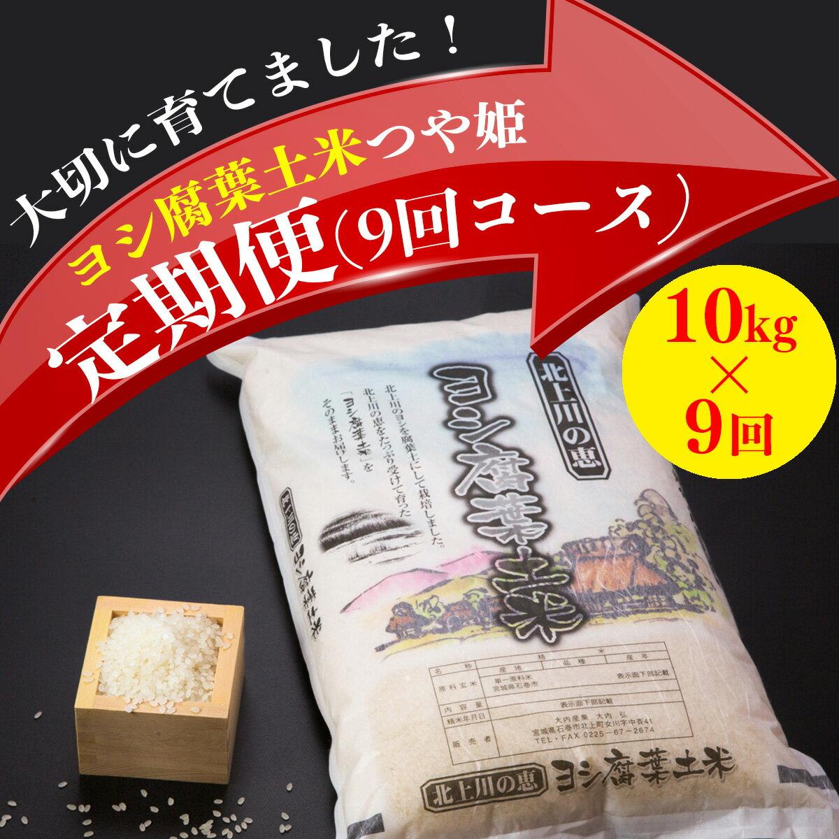 【ふるさと納税】『定期配送』ヨシ腐葉土米 90kg(つや姫)【美味しいお米を毎月10kg×9回に渡りお届け!】
