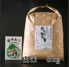 【ふるさと納税】田伝むしのササニシキ白米8kg(農薬:栽培期間中不使用)