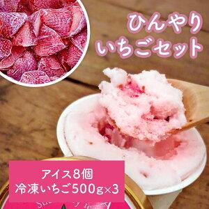 【ふるさと納税】《東松島のいちご園》アイスクリームとシャーベット各4個・冷凍いちご500g×3袋