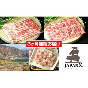 【ふるさと納税】【3ヶ月】JAPAN X3種2mmスライスセット2.8kg(バラ肩ロース小間)【定期便】 【定期便・お肉・豚肉】