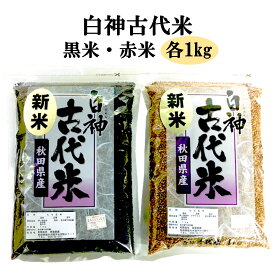 【ふるさと納税】 黒米 1kg 赤米 1kg 白神古代米 セット 秋田県 能代市産