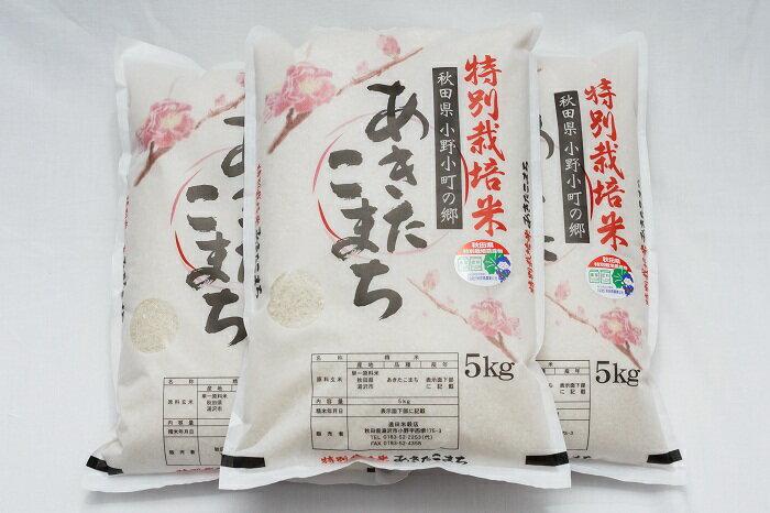 【ふるさと納税】C2202 小野小町の郷特別栽培米あきたこまち5kg×3袋