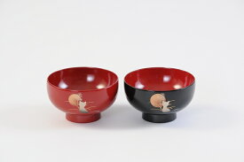 【ふるさと納税】C5503 川連漆器 夫婦坪汁椀木箱入 月と猫