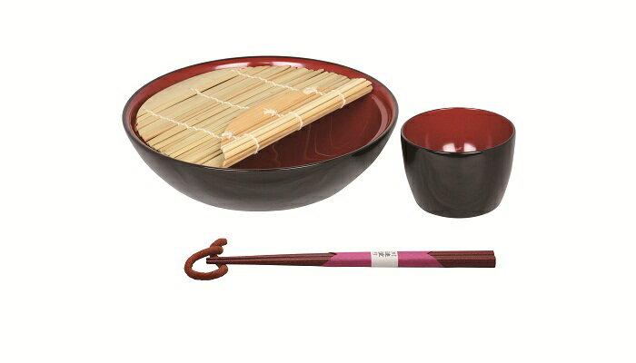 【ふるさと納税】D5902 川連漆器 せいろ皿セット(そば猪口・箸付)