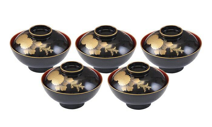 【ふるさと納税】E5303 川連漆器 加賀丸吸物椀菊5客組