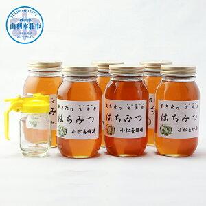 【ふるさと納税】(予約受付中 発送は令和3年8月から!)E12215秋田の玄圃梨蜂蜜1kg×6本+ピッチャー付 はちみつ 国産
