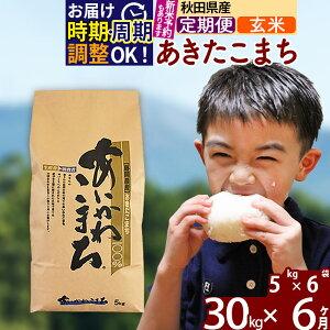 【ふるさと納税】 【玄米】 《定期便6ヶ月》 秋田県産あきたこまち30kg(5kg×6袋)×6回 あいかわこまち 農家直送 一等米 6か月 6ヵ月 6カ月 6ケ月 30キロ お米