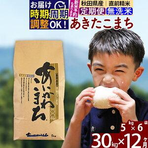 【ふるさと納税】 【無洗米】 《定期便12ヶ月》 秋田県産あきたこまち30kg(5kg×6袋)×12回 あいかわこまち 農家直送 一等米 12か月 12ヵ月 12カ月 12ケ月 30キロ お米