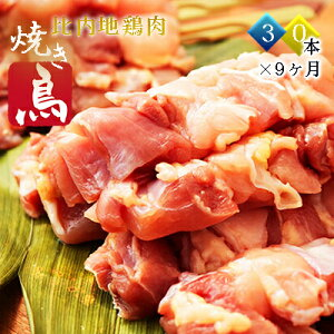 【ふるさと納税】比内地鶏 焼き鳥の定期便(30本×9ヵ月)(焼鳥 9ヶ月 もも肉 むね肉) 【定期便・鶏肉焼き鳥・やきとり】