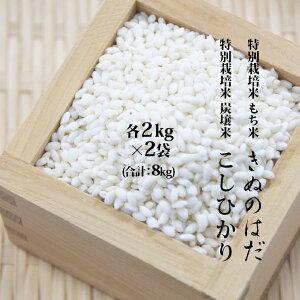 【ふるさと納税】仙北市産 もち米とこしひかりのセット 各2kg×2袋(合計:8kg) 【餅米・もち米・お米・コシヒカリ】