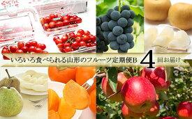 【ふるさと納税】FS20-058 [定期便4回] いろいろ食べられる山形のフルーツ定期便B