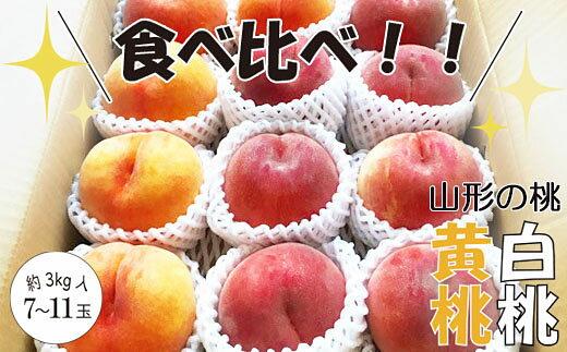 【ふるさと納税】FY18-922【先行予約】山形の桃(白桃と黄桃食べ比べセット)
