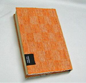【ふるさと納税】A51-607 きびそ手織りのブックカバー(市松柄 オレンジ)