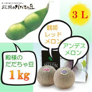 【ふるさと納税】A51-401 庄内砂丘メロン(2玉)と殿様のだだちゃ豆(1kg)のセット