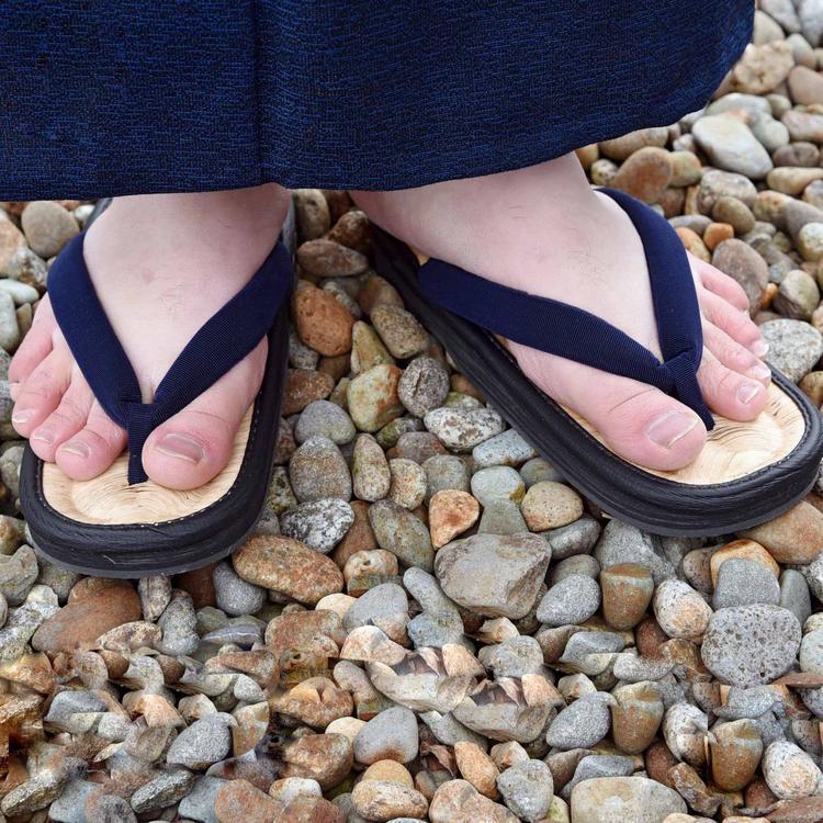 【ふるさと納税】竹皮草履(男性用)竹粋 濃藍