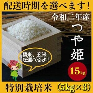 【ふるさと納税】 米 15kg 5kg×3 つや姫 特別栽培米 新米 精米 玄米 令和2年産 2020年産 山形県村山市産 送料無料 先行予約