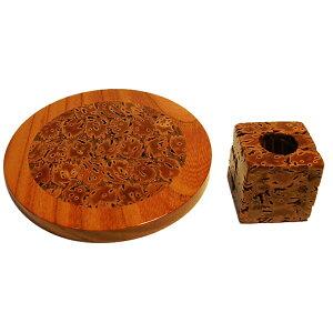 【ふるさと納税】桃の実工房 桃の実コースターとはんこ立て 【工芸品・雑貨・伝統工芸品・日用品・セット】