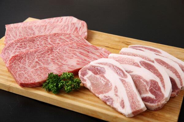 【ふるさと納税】庄内豚・山形牛特選ステーキよくばりセットW