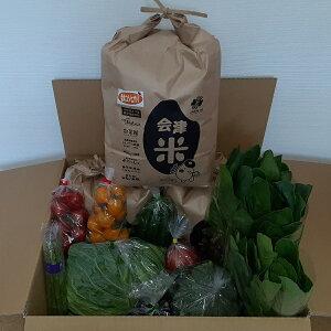 【ふるさと納税】会津コシヒカリ15kg(精米)と季節の野菜セット