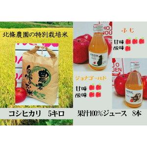 【ふるさと納税】北條農園の林檎ジュースとお米5kg※北海道・沖縄配送不可