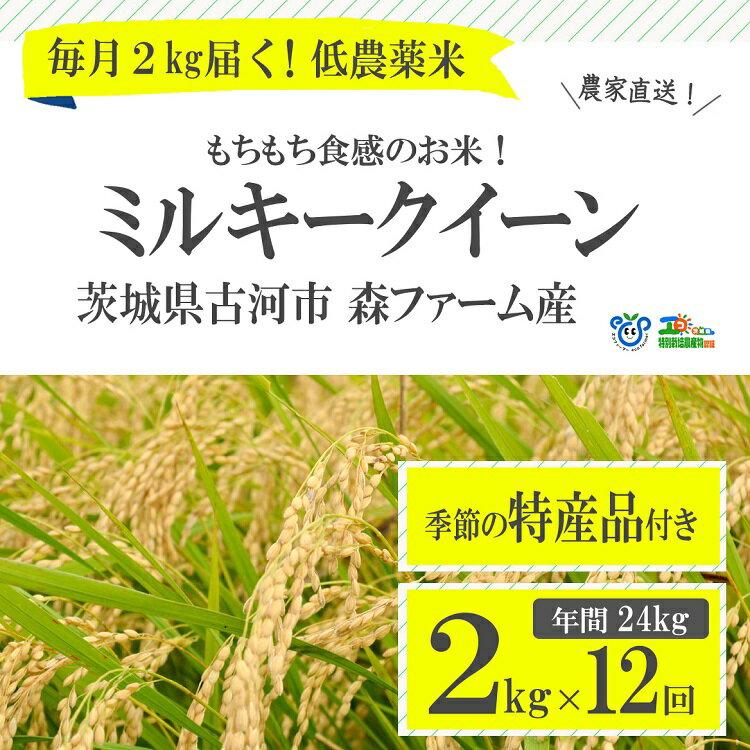 【ふるさと納税】BI04_1年間毎月届く!低農薬米ミルキークイーン2kg定期便 ※季節の特産品付き 年間24kg 米 ギフト 特別栽培米