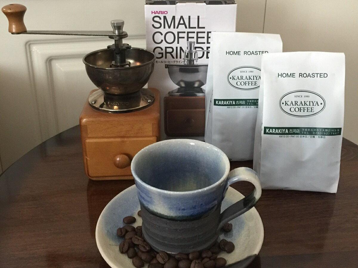 【ふるさと納税】AK14_HARIOスモールコーヒーグラインダー&直火自家焙煎コーヒー豆100g×2種