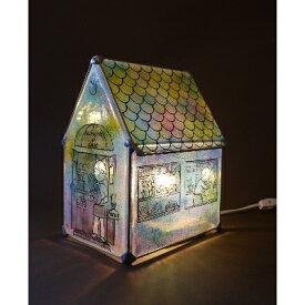 【ふるさと納税】かわいい家型ステンドグラス・ランプ「猫のパン屋」【1206850】