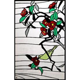 【ふるさと納税】大判ステンドグラス「椿とメジロ」【1243539】