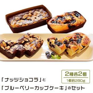 【ふるさと納税】48-6 「ナッツショコラ」と「ブルーベリーカップケーキ」のセット(各280g×計4個)