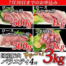 【ふるさと納税】57-10【緊急支援品】国産豚肉バラエティ4種セット3kg(小分け真空包装)【下妻工場直送】