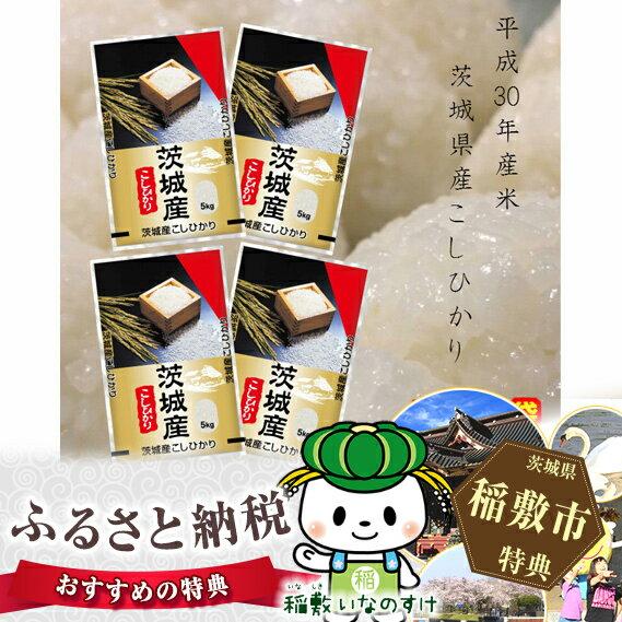 【ふるさと納税】お米の王様!茨城県産コシヒカリ白米20kg(5kg×4袋)<30年度産米>
