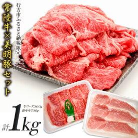 【ふるさと納税】【美明豚×常陸牛】1kgスライスセットD(美明豚もも700g×常陸牛ロース300g)