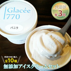 【ふるさと納税】【定期便】アイスクリーム工房「Glacee770」益子無添加アイスクリームセット(年3回:4月・8月・12月)