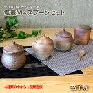 【ふるさと納税】塩壷M+スプーンセット
