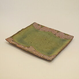 【ふるさと納税】 釉彩角皿 ドット模様 正方形 和食器 おしゃれ 工芸品 手作り 陶器