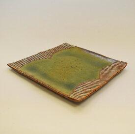 【ふるさと納税】 釉彩角皿 ライン模様 正方形 和食器 おしゃれ 工芸品 手作り 陶器