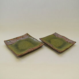 【ふるさと納税】 釉彩小皿 2枚セット 正方形 角皿 和食器 おしゃれ 工芸品 手作り 陶器
