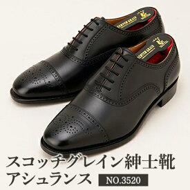 【ふるさと納税】スコッチグレイン紳士靴「アシュランス」NO.3520(ブラック)【ウィズEEE】【特典:靴クリーム等セット】SCOTCH GRAIN ビジネスシューズ メンズ 革靴