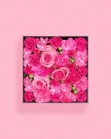 【ふるさと納税】《記念日に届くお花シリーズ》ボックスアレンジメント_ピンク系(16cm×16cm)