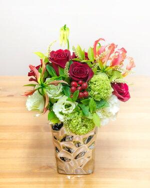 【ふるさと納税】《記念日に届くお花シリーズ》アレンジメントSサイズ_レッド系