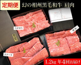【ふるさと納税】牛肉 定期便 4回 幻の相州黒毛和牛肩肉 1.2kg×4回 計4.8kg【 相州牛 相州和牛 神奈川県 小田原市 】