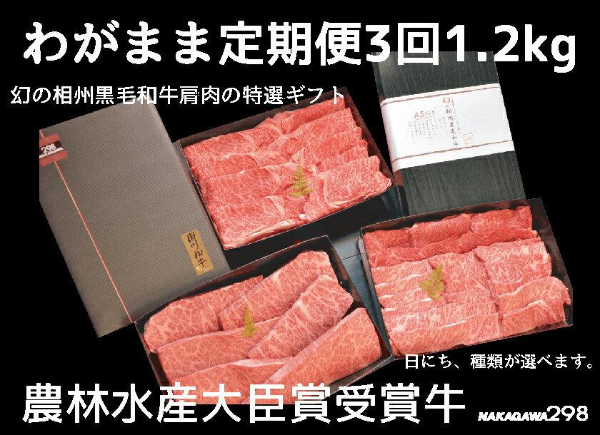 【ふるさと納税】わがまま定期便  幻の相州黒毛和牛肩肉 1.2kg 年に3回お届け!