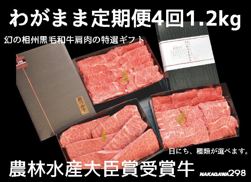 【ふるさと納税】わがまま定期便  幻の相州黒毛和牛肩肉 1.2kg 年に4回お届け!