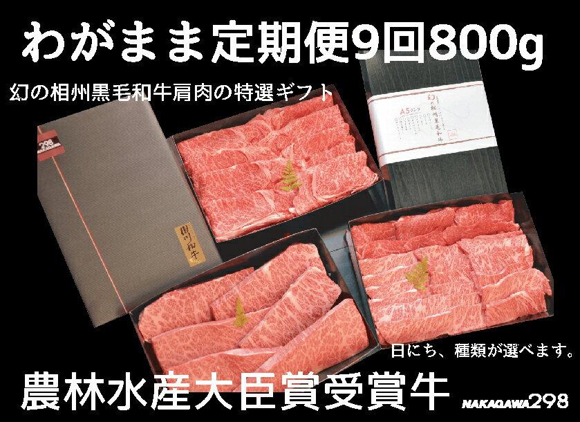 【ふるさと納税】わがまま定期便  幻の相州黒毛和牛肩肉 800g 年に9回お届け!