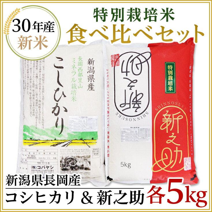【ふるさと納税】2-060【H30年産】特別栽培米各5kgセット( 新潟県長岡産新之助・コシヒカリ)