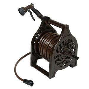【ふるさと納税】【033P002】[グリーンライフ] アルミ鋳物ホースリール 25m ブラウン