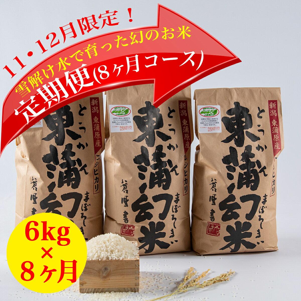 【ふるさと納税】特別栽培コシヒカリ「東蒲幻米」6kg(ご贈答向け) 定期便8回 【11月12月申込限定品・美味しいお米を毎月お届け】