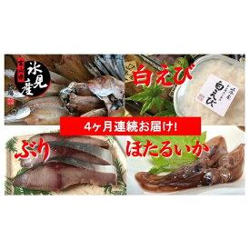 【ふるさと納税】【4ヶ月定期便】富山県氷見の幸詰合せ《ぶり・白えび・のど黒・ホタルイカ入り》 【定期便・魚貝類・干物・アジ・魚貝類・干物・ホッケ・魚貝類・のどぐろ】
